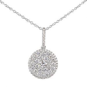 18 karat white gold cluster disc-style diamond pendant