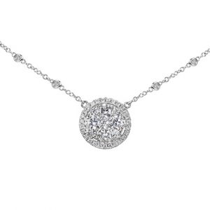 18 karat white gold grain and claw diamond pendant with chain