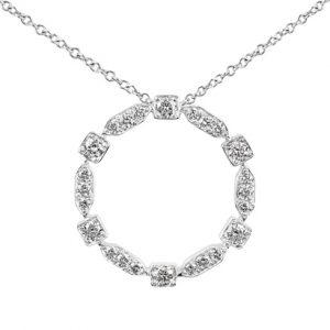 18 karat white gold grain set fancy shaped circle diamond pendant