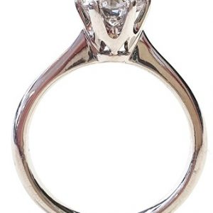 18 karat yellow gold and platinum ring with one round brilliant cut diamond