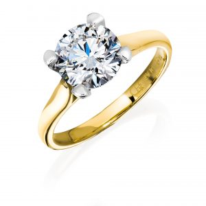 Unique 2 carat diamond solitaire engagement ring cradled in a split band