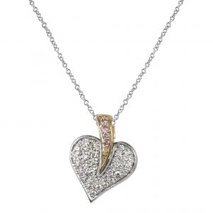 Heart shaped pendant with white & pink diamonds