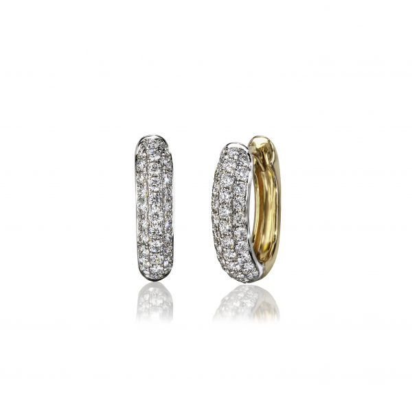 Yellow gold huggie earrings with 3 rows of diamonds