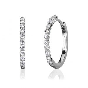 White gold and diamond hoop style earrings