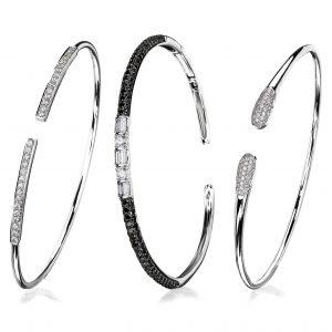 3 x bangles white gold and diamonds