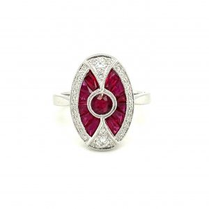 8 karat white gold Art Deco-inspired design cluster Ruby & Diamond Ring design, ruby and diamond ring with millgrain edges.