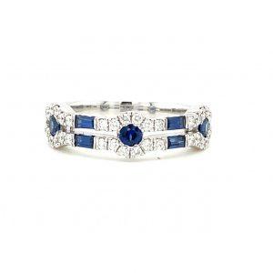 Sapphire, Diamond white gold ring