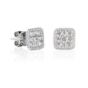 pair of 18 karat white gold claw and grain set square shaped diamond earrings.