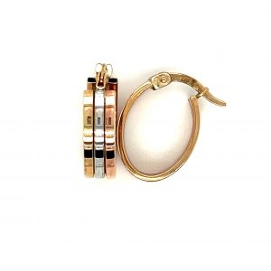 9 Karat white gold, yellow gold and rose gold forms these gorgeous 3 Row Oval shaped Earrings.