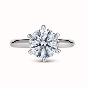 solitaire with 6 claws white gold engagement ring