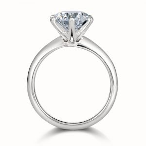 Brilliant cut solitaire white gold band engagement ring profile
